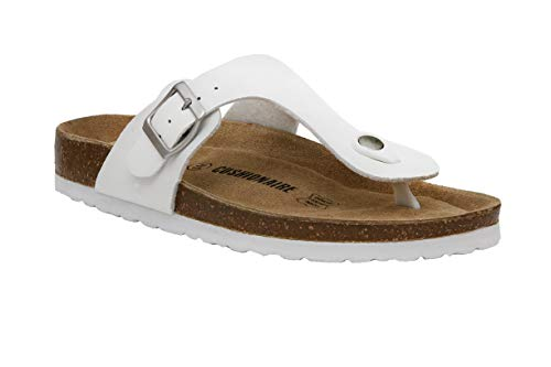 CUSHIONAIRE Women's Leah Cork Footbed Sandal with +Comfort White, 12 W