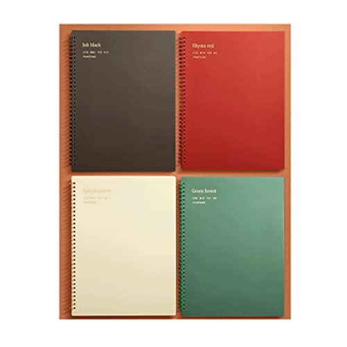 SUISHI Universidad de Cuaderno Espiral con 80 Hojas de Carpeta gobernada en Papel;4 Paquetes de Cubiertas duras de Colores sólidos Clasificados for la Oficina de revistas (Color : 3 a4 4-Pack)