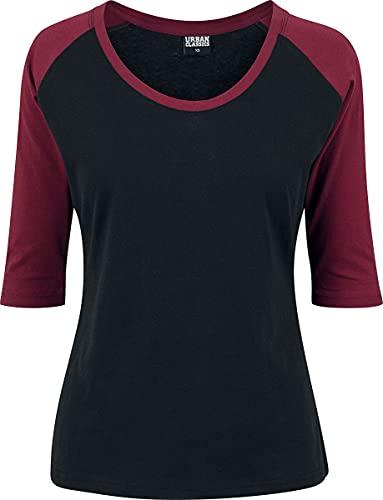 Urban Classics Damen Ladies 3/4 Contrast Raglan Tee T-Shirt, Mehrfarbig(blk/burgundy), M