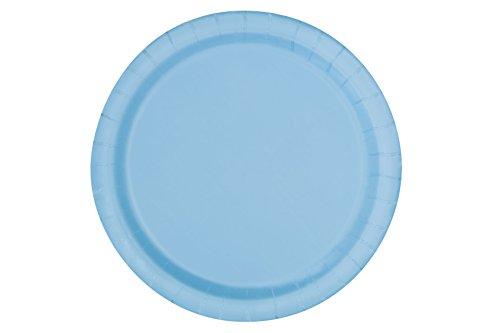 Unique Party - 30898 - Paquet de 20 Assiettes en Carton - 18 cm - Bleu Pastel