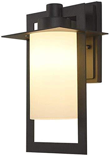Beautiful Home Lighting/Waterdichte buitenverlichting patio wandlamp buitenwandlampen, glazen lantaarn aan de muur bevestigd zwart gestructureerd eenvoud, bevestigingsverlichting E27 Edison Balko