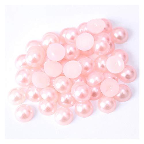 WEIGENG Perlas de acrílico de 2/3/4/5/6/8/10/12/14 mm de imitación de perlas medias redondas de color rojo negro y rosa para hacer joyas (color rosa claro, tamaño: 5 mm x 200 piezas)