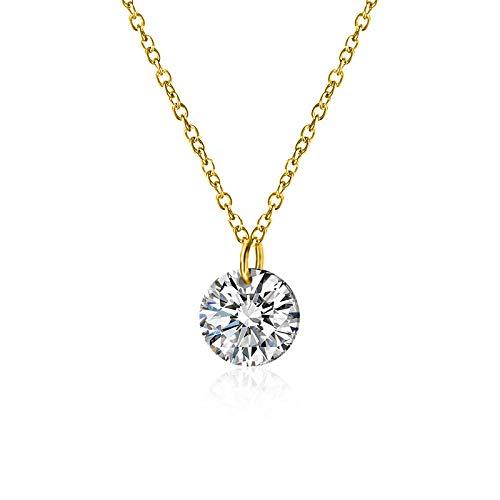yuyuyu Plata de Ley 925 Deslumbrante CU circón círculo Redondo CZ Colgante Collar Mujer Plata 925 joyería Oro