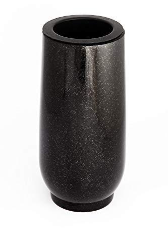 Vase funéraire classique - En véritable granit noir - Avec insert en plastique - Hauteur: 20 cm - Diamètre: 10 cm - Décoration funéraire résistante aux intempéries et au gel