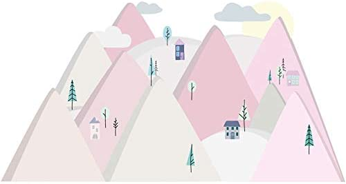 Wandtattoo Wandaufkleber Bild Sticker Kinderzimmer 3d Xxl Rosa Berge 150x75 Cm Amazon De Kuche Haushalt