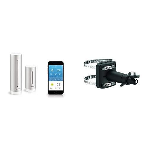 Netatmo Wetterstation innen und außen mit Außensensor und Wettervorhersage, funktioniert mit Amazon Alexa & Halterung für Regenmesser und Windmesser, schwarz