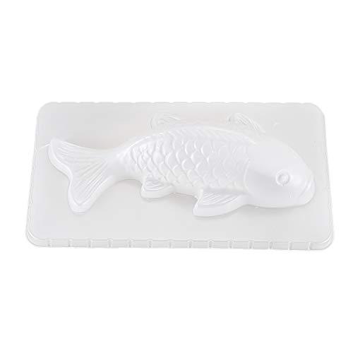 Haudang Stampo 3D alla carpa, ciprinus, a forma di pesce, cioccolato, gelatina, zucchero, fai da te, per cucina, bianco, S