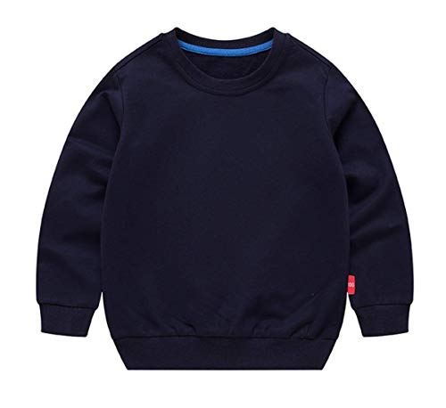 Ding-dong Baby Toddler Kid Boy Girl Solid Casual Crewneck Sweatershirt Pullover(Navy,1T)