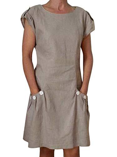 """Yidarton Damen Sommer Kleider Strand Elegant Casual A-Linie Kleider à""""rmellos Strandkleid Sommerkleider Partykleid Minikleider, Grau3, L"""