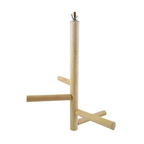 Dyyicun12 Huisdier Vogelpapegaai 4 Bars Houten Roterende Persen Staande Ladder Rek Speelgoed Huisdier benodigdheden, Wood Color