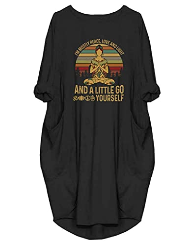 JiaMa Womens I'm Mostly Peace Love and Light and A Little Go Print Long Sleeve Loose Pocket Oversize Tunic Dress Black