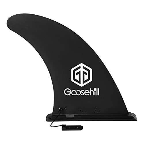 Goosehill 9' SUP Fin, Paddle Board Fin Replacement, Quick Release Slide in Center Fin for Inflatable Paddleboard, Black