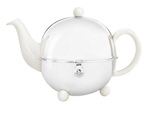 Schöne weiße Teekanne Cosy 0,9 Ltr. mit isolierendem Edelstahlmantel poliert von Bredemeijer inkl. Teefilter (für losen Tee) 1301W (Z161)