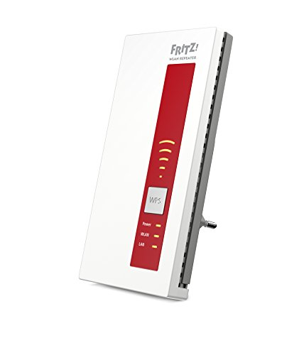 AVM FRITZ!WLAN Repeater 1750E International Rojo, Blanco - Repetidor (2.4/5 GHz, Inalámbrico, WEP,WPA,WPA2,WPS, IPv6, Rojo, Blanco, 230 V)