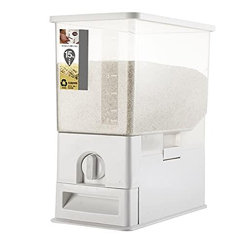 Recipiente Dispensador Arroz HerméTico, Tanque Almacenamiento Granos de Gran Capacidad con Tapa, Caja Almacenamiento Cereales para el Hogar para Frijoles Cocina, Cereales Caramelo