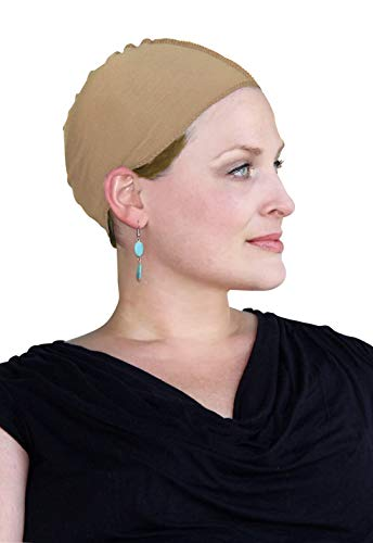 Cancer Headwear for Women Bamboo Wig Cap Hat Liner Chemo Moisture Wicking (Beige)