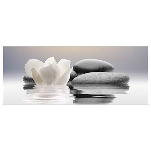 decorwelt Cuadro de cristal 125 x 50 XL Zen piedras blancas, panorámico, cuadro de cristal, moderno, decoración de cristal