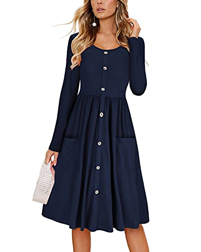 KILIG Women's Dresses Long Sleeve Casual Button Down Swing Dress with Pockets(D1-Navy,Small)