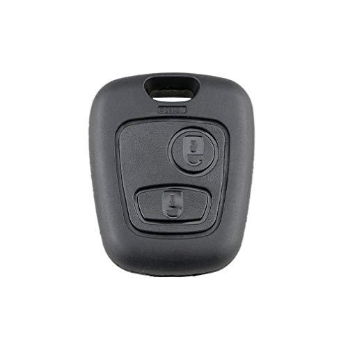 2 Botones de Repuesto Remoto en Blanco Carcasa de Llave de Coche para Peugeot 206 Negro