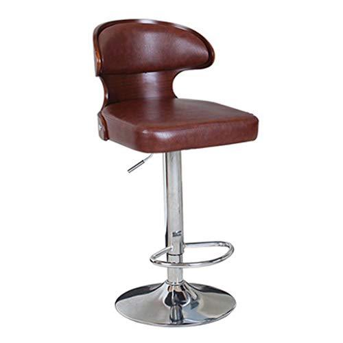 YERT Furniture Silla de Bar de Cuero Artificial marrón, Juego de 1 Pieza, Taburete de Bar Simple, Adecuado para Cocina de cafetería, Altura del Asiento 60-80 cm
