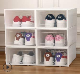 BUZIFU Juego de 6 cajas de almacenamiento para zapatos, apilables, de plástico, para ahorrar espacio, plegables, con tapa, para la mayoría de tamaños de zapatos