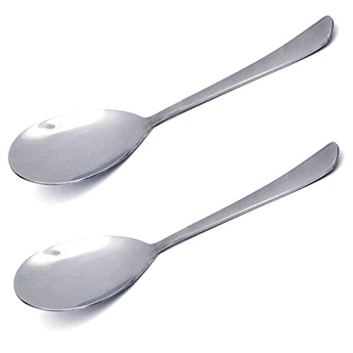 """Hometeq (2 Pack) 8.5"""" Stainless Steel Flatware Serving Spoons for Buffet, Banquet, Party, Holiday Dinners Serving Spoon Set"""