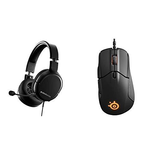 SteelSeries Arctis 1 Wired Gaming Headset – Detachable Clearcast Microphone – Lightweight Reinforced Headband & Rival 310 Gaming Mouse - 12,000 CPI TrueMove3 Optical Sensor - Split-Trigger Buttons