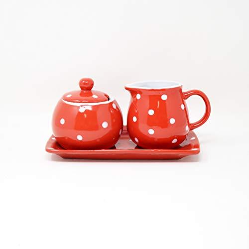 DRULINE DOTS Kombiservice Color: Milchkännchen 10 x 9 cm & Zuckerdose 11 x 10 cm Rot/Weiß