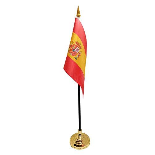 Ericraft Bandera de España pequeña de sobremesa, bandera España mesa despacho. Banderín de mesa