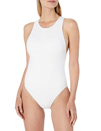 Seafolly Women's High Neck One Piece Swimsuit with Action Back, Active White, 8 US