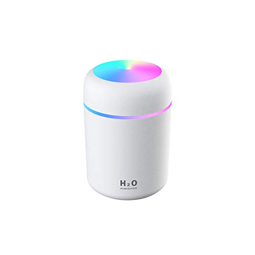 Mini Humidifier, Colourful Cool Mini Humidifier, 300 Ml Water Tank, USB Charging Function, 2 Mist Modes, Super Quiet, Auto Shut-Off and Night Light Function (White)