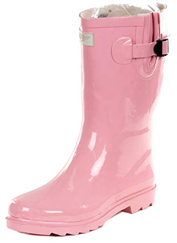 Women Rubber Rain Boots - 11' Mid-Calf Ladies Classic Waterproof Outdoor Garden Shoes, Colorful Designs Wellies (Pink, Size 10)