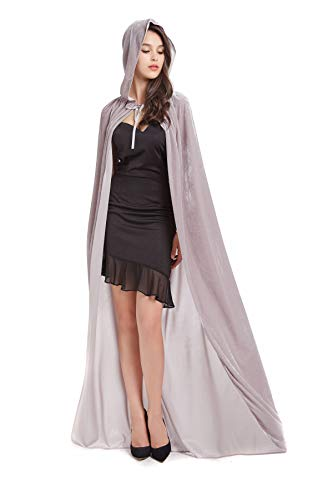 Best Choice Festival 59inches Unisex Long Velvet Hooded Cloak for Halloween Christmas Masquerade Cosplay Costume Grey