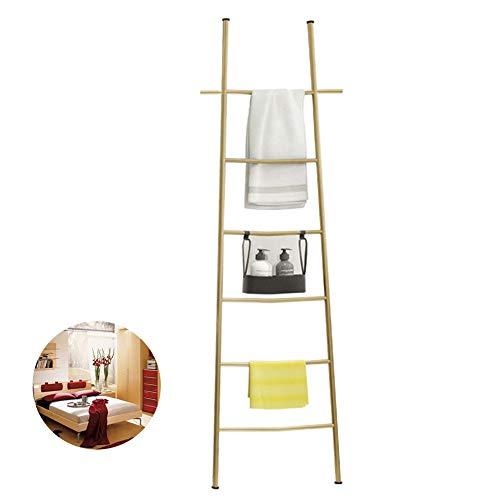 Wandleunend deken Ladder Rack Metaal met twee haken 6 Bars Decoratieve Ladder Stand Boor Gratis gebruik voor Woonkamer, Slaapkamer, Badkamer