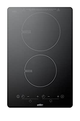 """Summit SINC2B120 115V 13.5"""" Induction Cooktop With Schott Glass and 7-Piece Induction Cookware Set Included, Black"""