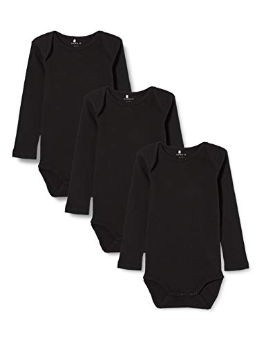 NAME IT Nbnbody 3p LS Solid Noos Polaina, Negro (Schwarz Black), 92 (Pack de 3) para Bebés