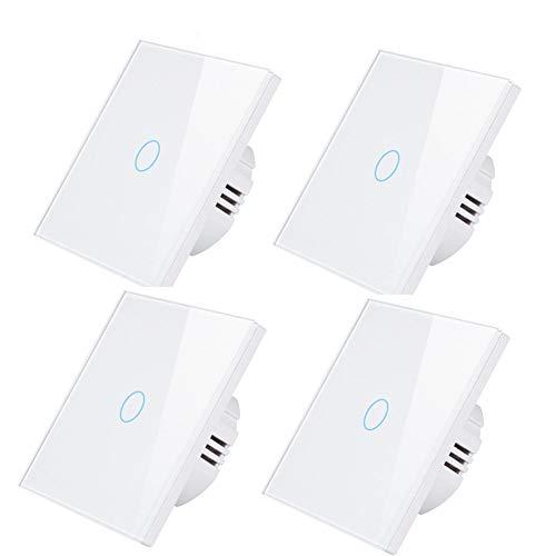 Touch-Lichtschalter Weiß mit LED-Anzeige mit gehärtetem Glas Panel Wandlichtschalter 1 Gang,4pcs