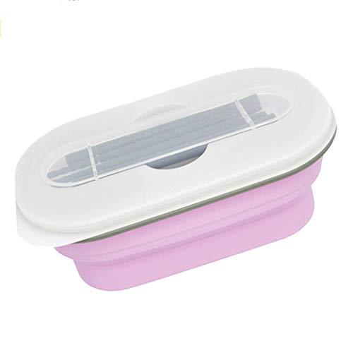 LHQ-HQ Bento caja plegable de silicona caja de almuerzo del Estudiante de educación infantil al aire libre portátil Cuenco con los palillos del vajilla (color: rosa, tamaño: 19 * 19 * 8 cm)