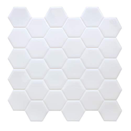 HyFanStr Wandfliesen zum Abziehen und Aufkleben, Spritzschutz für Küche, selbstklebend, wasserdicht, weiß, 3D-Fliesenaufkleber für Badezimmer, Subway-Fliesen, Spritzschutz (4 Stück)