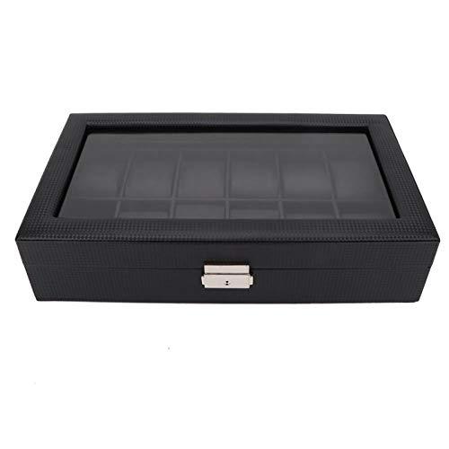 DAUERHAFT Uhrenvitrine 12 Slot Watch Box Einfaches Styling mit weichem PU-Leder zur Aufbewahrung der Uhr