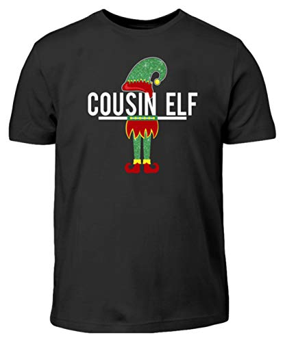 Shirtzshop Cousin Elf - Camiseta de Manga Corta para niño, diseño de Elfo, Familia, mitología, fabelwesen, Hada, Hada, Bien, Mal Negro 134 cm/146 cm