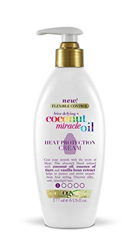 OGX Aceite de Coco milagroso, crema de protección térmica, fortalece, protege, aceite de coco, ssencia de Tiaré, aceite vainilla, 177 ml