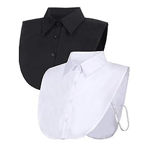 Tatuo 2 Pieces Fake Collar Detachable Blouse Dickey Collar Half Shirts False Collar for Women...