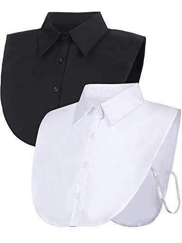 2 Stücke Fälschung Kragen Abnehmbare Bluse Dickey Kragen Half Shirts False Kragen für Damen Gefälligkeiten (Größe 2, Schwarz, Weiß)