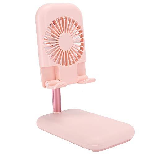 Soporte para teléfono celular con ventilador de refrigeración, soporte para teléfono de mesa portátil y ventilador para disipador de calor, soporte para tableta antideslizante de silicona(Rosa)