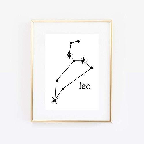 Din A4 Kunstdruck ungerahmt Sternzeichen Löwe Horoskop Leo Astrologie Sterne Sternhimmel Sternbild Minimalismus Druck Poster Bild