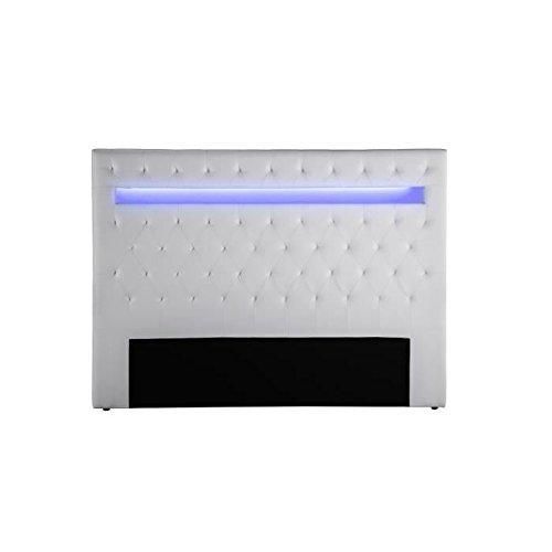Générique Celeste Tete de lit Style Contemporain avec LED - Simili Blanc - l 170 cm