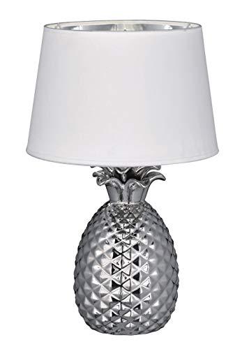 Reality Leuchten Pineapple R50431089 Tischleuchte, Keramik, Stoffschirm Weiß / Silberfarben