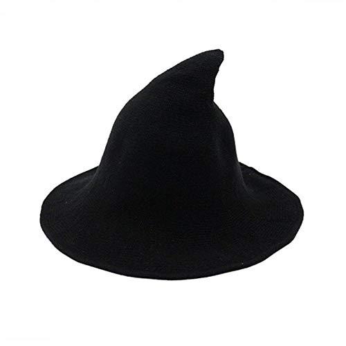 Frecoccialo Hexenhut für Damen Halloween Horror Party schwarz Hexe Hut Krempe Faltbare Kopfbedeckung