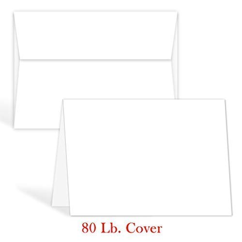 Greeting Cards Set – 5x7 Blank White Cardstock and Envelopes Perfect for Business, Invitations, Bridal Shower, Birthday, Interoffice, Invitation Letter, Weddings and All Occasion – Bulk Set of 50
